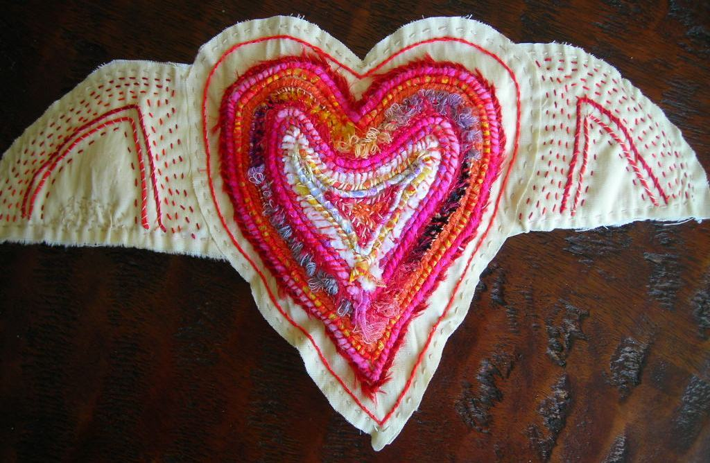 WINGED HEART COUCHED EMBROIDERY