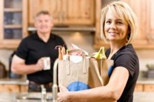 mature woman with groceries